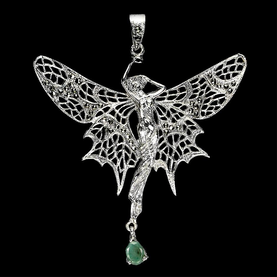 Gorgeous Unique Genuine Emerald Fairy Pendant