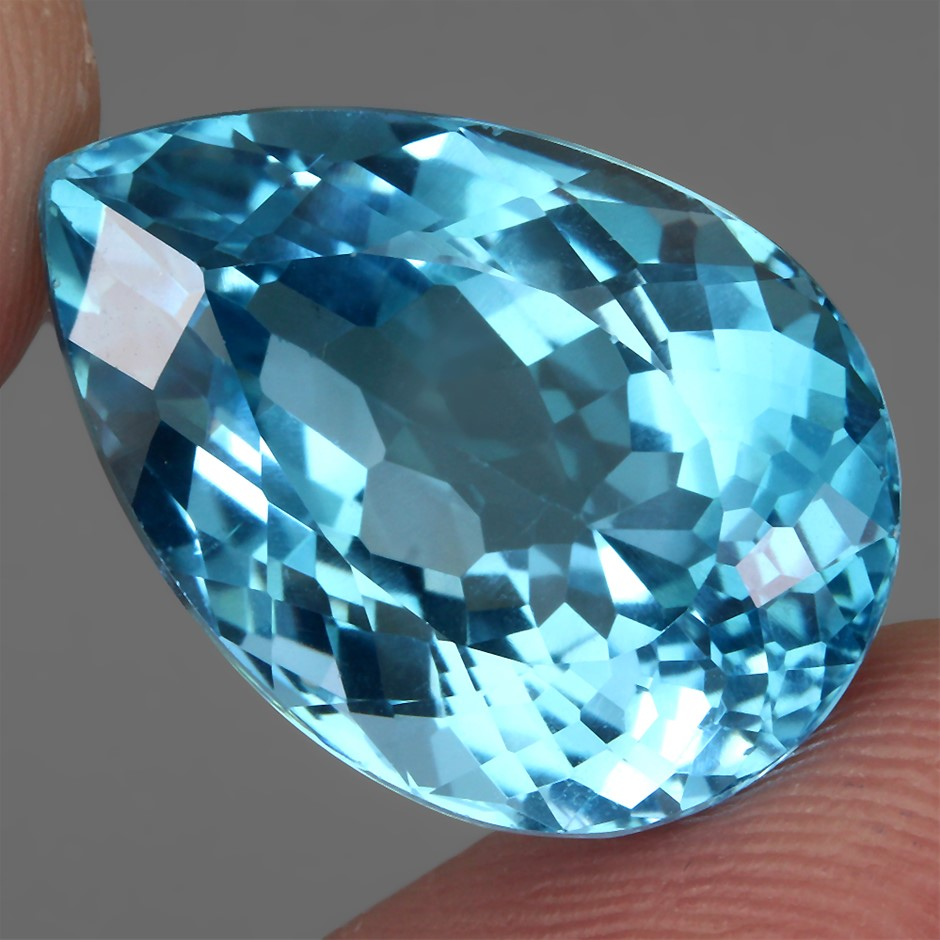 24.90ct. Genuine Pear Facet Eye Clean Swiss Blue Topaz