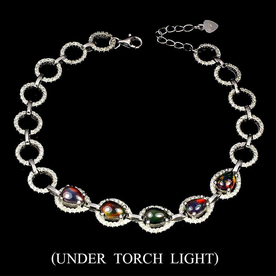 Striking Genuine Black Opal Bracelet