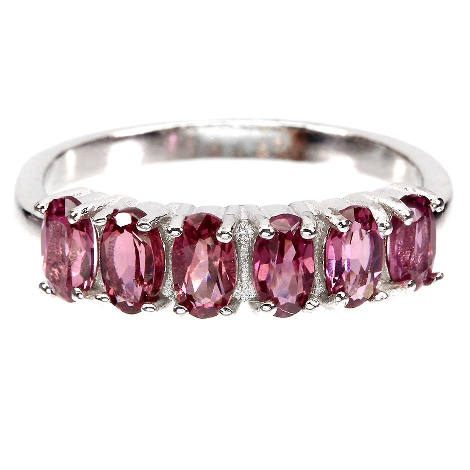 Beautiful Genuine Pink Rhodolite Garnet Half Eternity Ring.