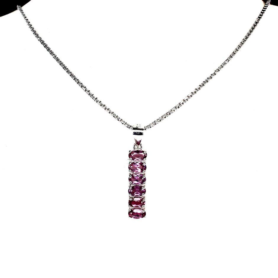 Beautiful Genuine Pink Rhodolite Garnet Huggie Pendant & Chain.