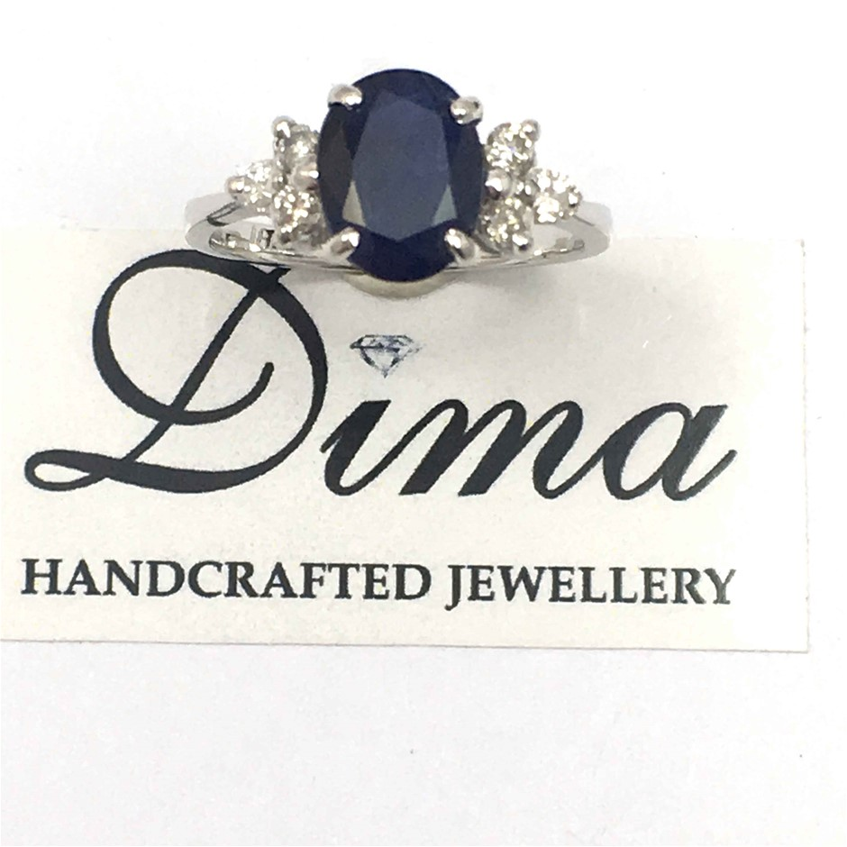 18ct White Gold, 4.60ct Blue Sapphire and Diamond Ring