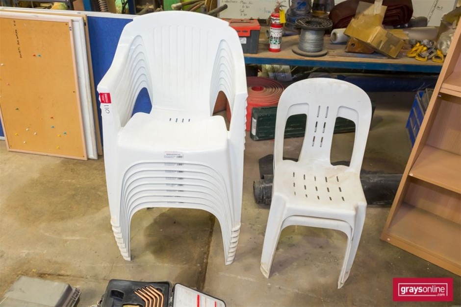 Qty 10 x PVC Garden Chairs in 2 styles