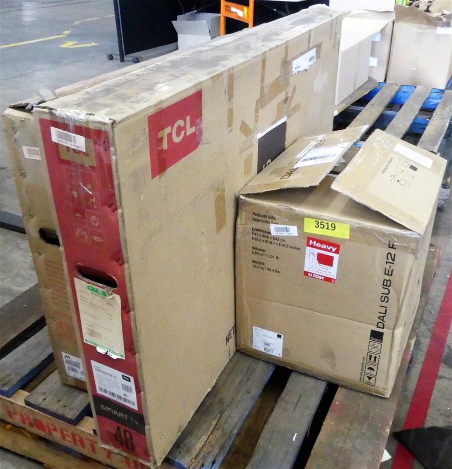 Pallet of 2 x faulty Television and 1 x faulty Subwoofer 1 x DALI