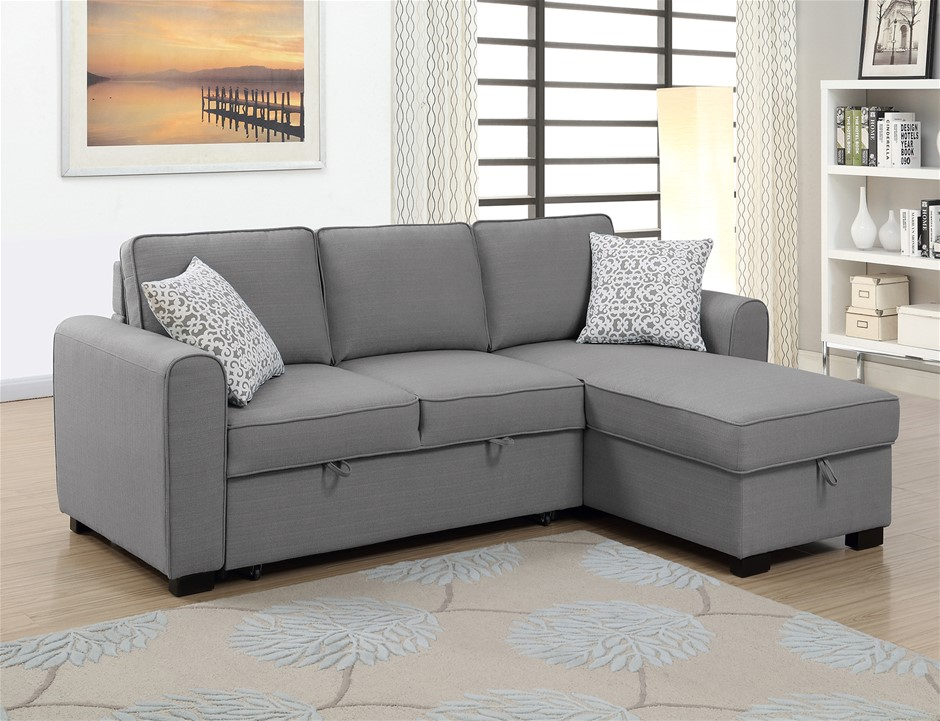Jessie LHF Chaise With Sofabed & Storage - Grey