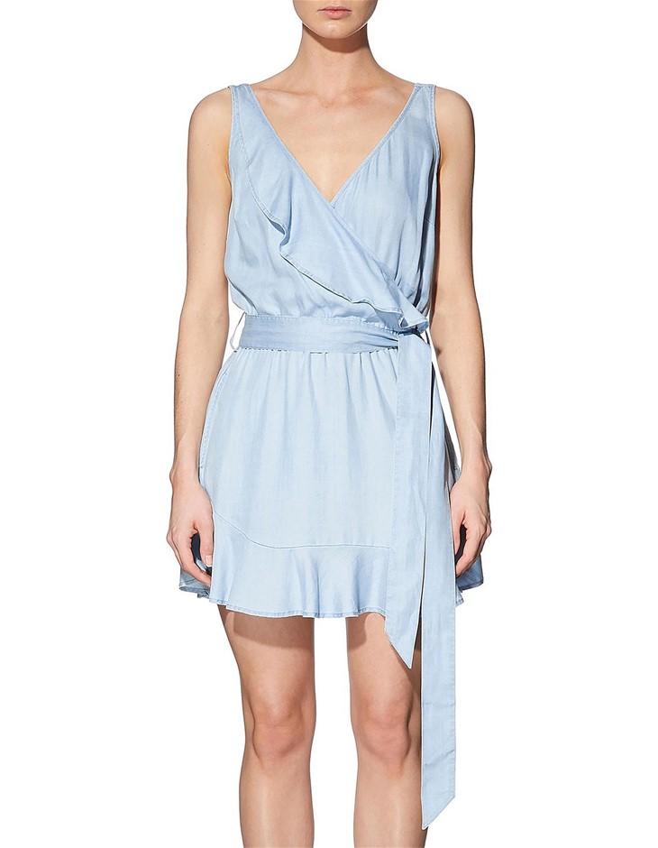 GUESS Sl Gianna Ruffle Dress. Size S, Colour: Super Bleached Wash. 100% Lyo