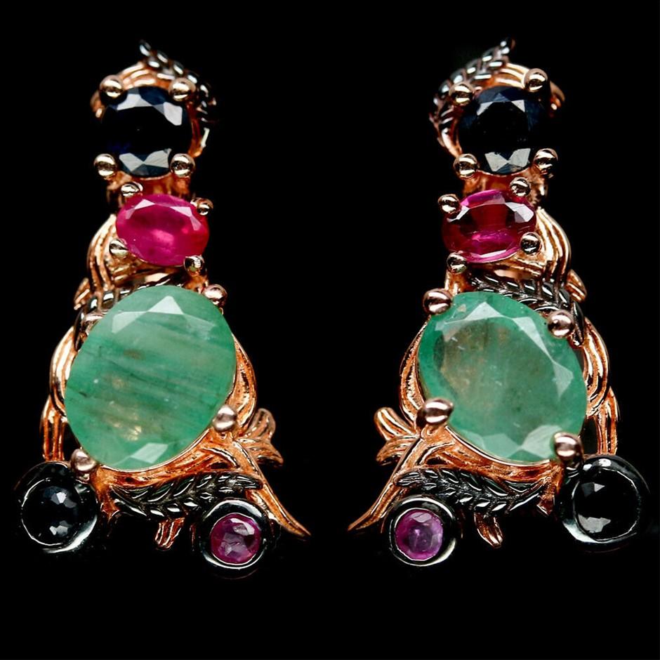 Unique Genuine Emeralds Ruby & Sapphire Earrings