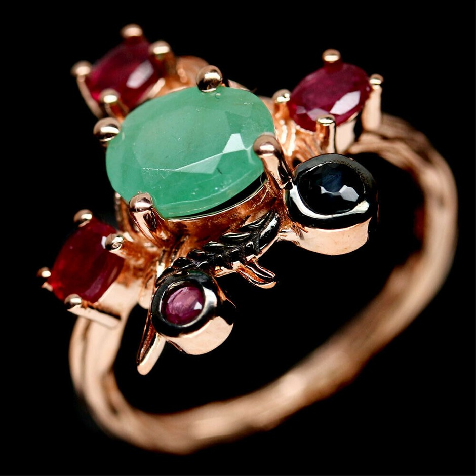 Unique Genuine Emeralds Ruby & Sapphire Ring.