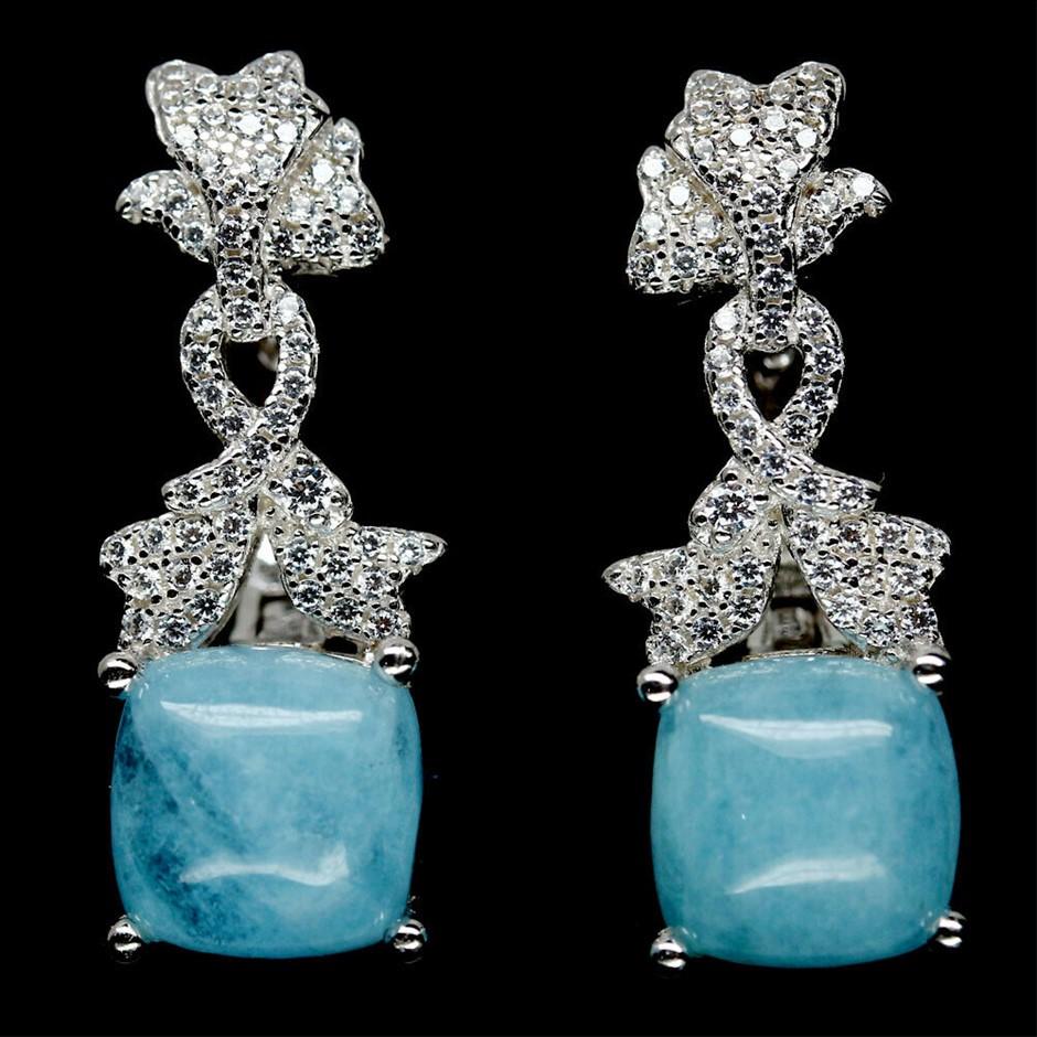 Spectacular Genuine Aquamarine Drop Earrings