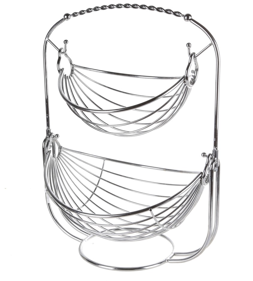 MESA-2-Tier Fruit Basket, Chrome Finish, 29cm(W) x 36cm (L) x 47cm (H). (SN