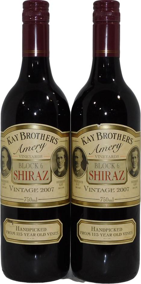 Kay Brothers Block 6 Shiraz 2007 (2x 750mL), SA. Screwcap.