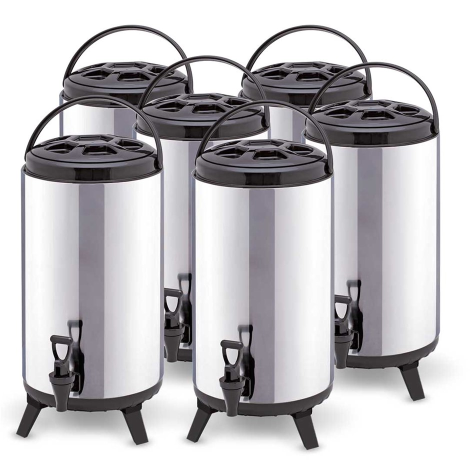 SOGA 6 x 8L Portable Insulated Cold/Heat Brew Pot With Dispenser