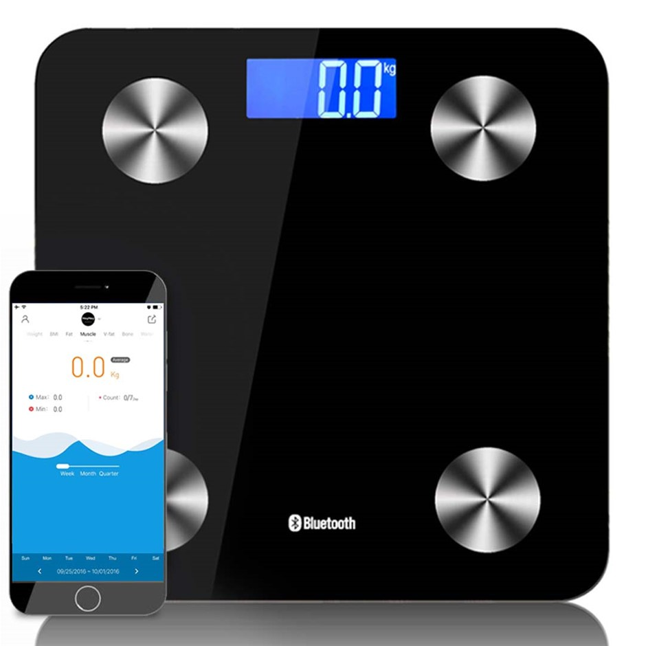 SOGA Wireless Bluetooth Digital Body Fat Scale Bathroom Weight Black