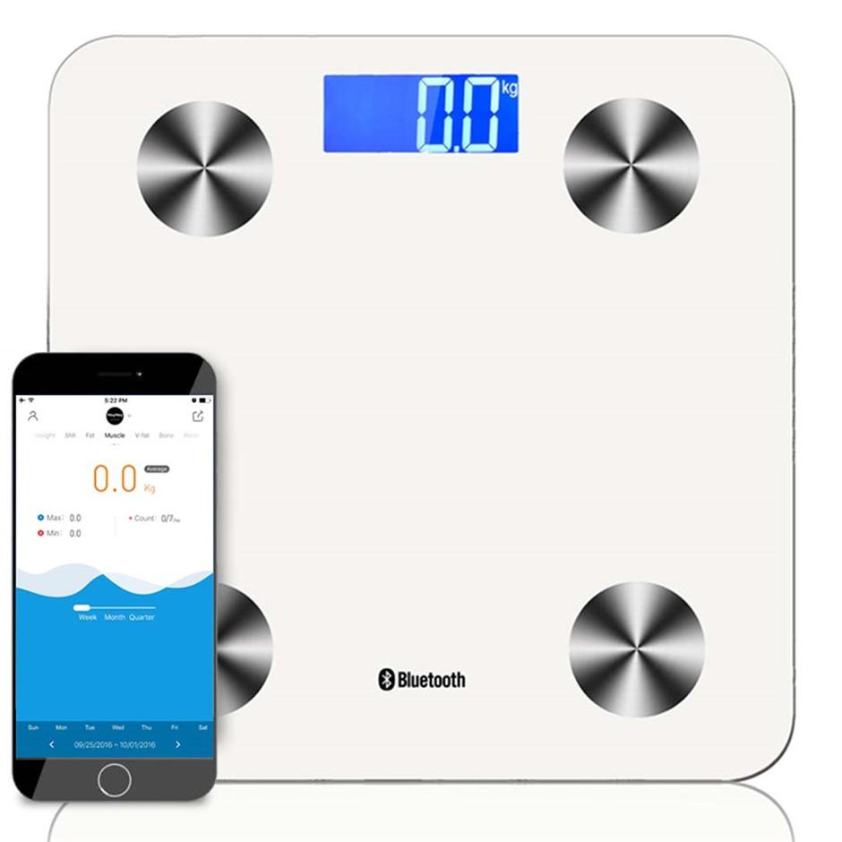 SOGA Wireless Bluetooth Digital Body Fat Scale Bathroom Weight White