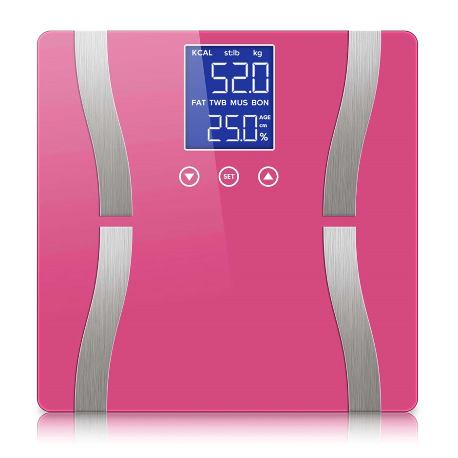 SOGA Digital Body Fat Scale Bathroom Scales LCD Electronic Pink