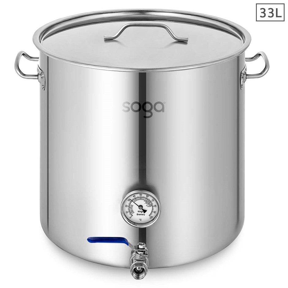 SOGA Stainless Steel 33L Brewery Pot With Beer Tap 35*35cm