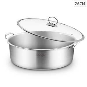 SOGA Stainless Steel 26cm Casserole With