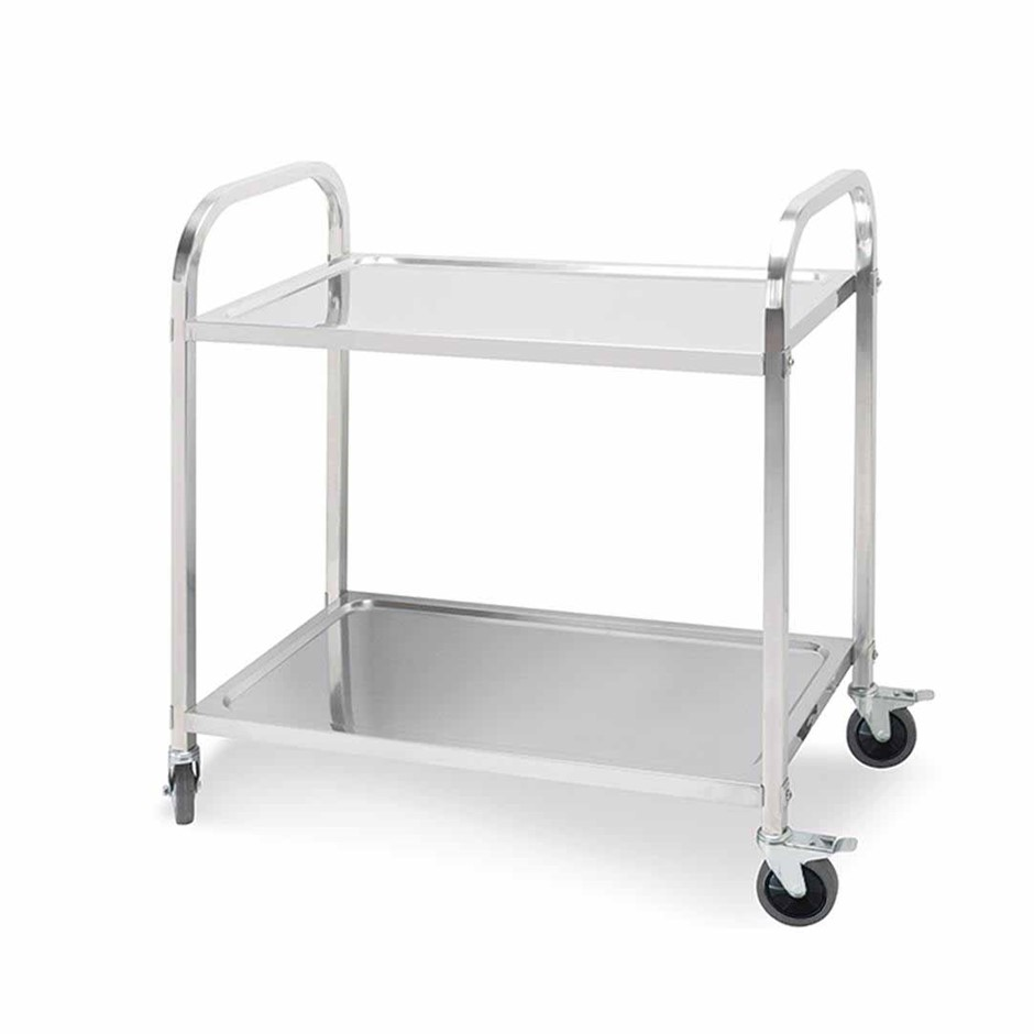 SOGA 2 Terr S/S Kitchen Dining Food Cart Trolley Utility - 95x50x95cm Lge