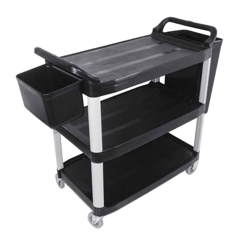 SOGA 3 Tr Trolley Food Waste Cart W/Two Bins Stge Kitch. Blk 102x50x96cm L