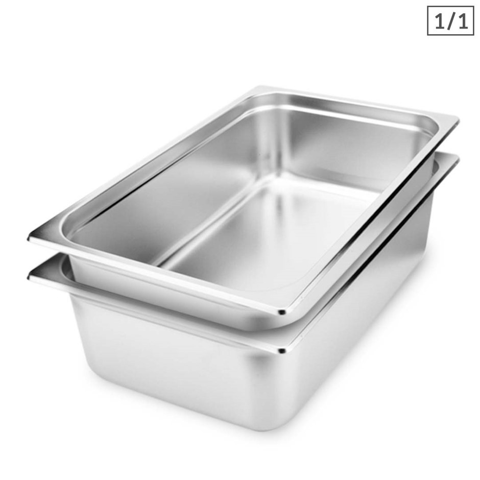 SOGA 2X Gastronorm GN Pan Full Size 1/1 GN Pan 15cm Stainless Steel Tray