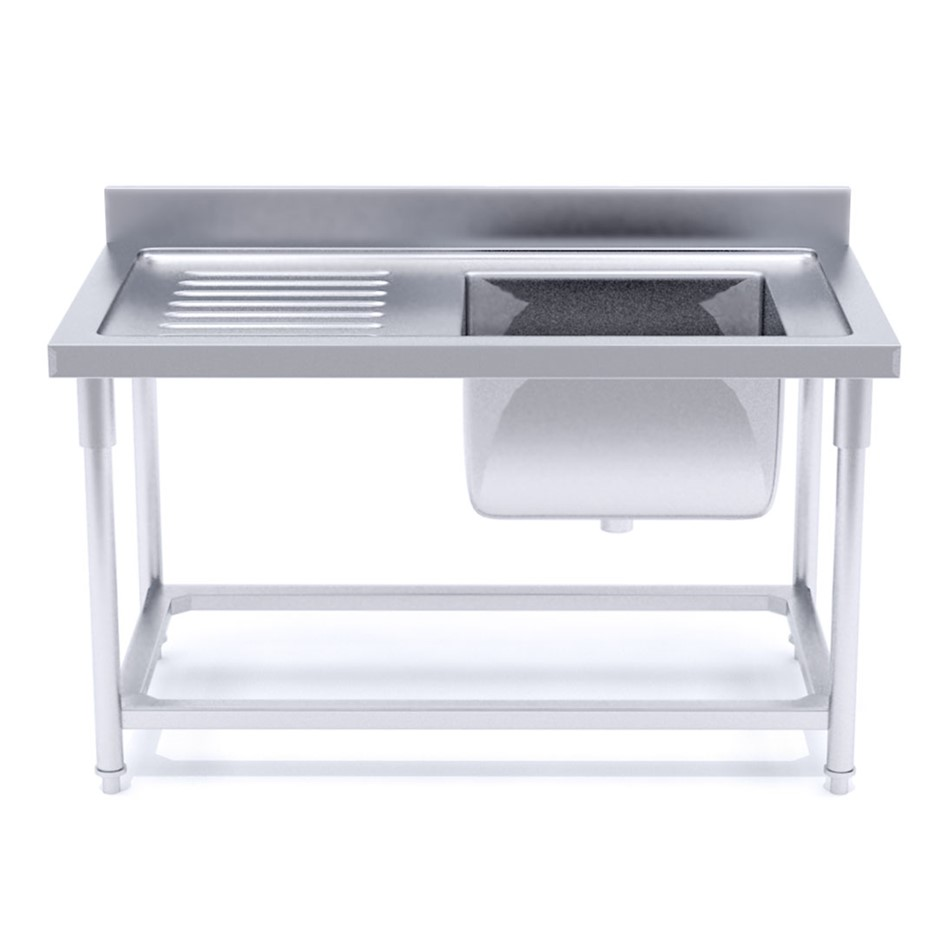 SOGA S/S Work Bench Right Sink Commercial Kitchen Food Prep 120*70*85