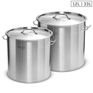 SOGA Stock Pot 12L 33L Top Grade Thick S