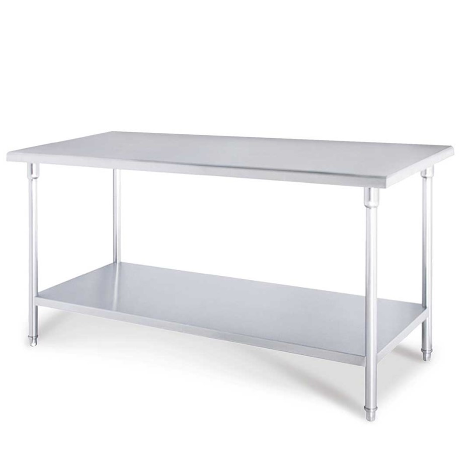 SOGA 2-Tier Commercial Kitchen S/S Prep Work Bench Table 120*70*85cm