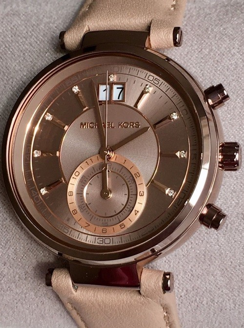 Ladies never worn lovely Michael Kors Couture 'Sawyer' chronograph watch.