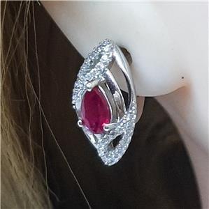 Gorgeous Genuine Ruby & White Sapphire Huggie Earrings
