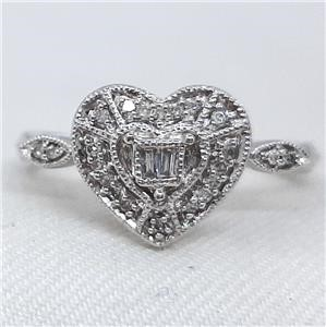 Exquisite Genuine Diamond Heart Ring.
