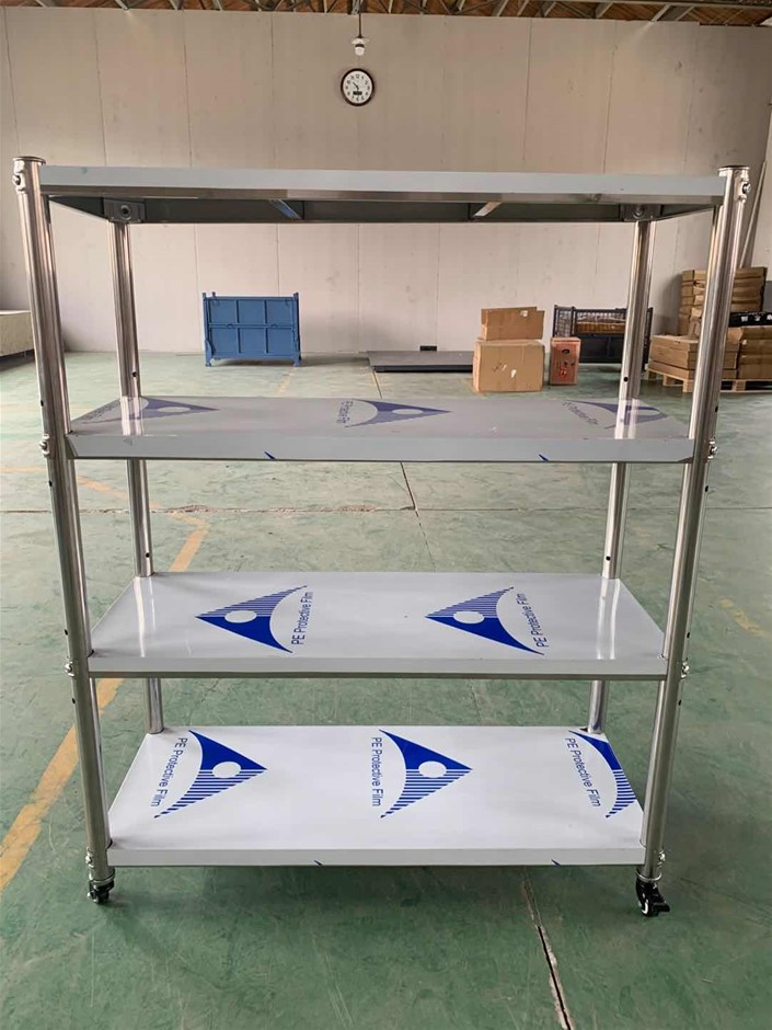 Stainless Steel 4-layer Shelf with Mobile Wheels
