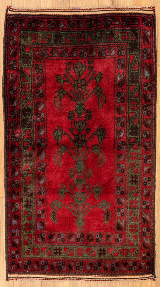 Handknotted Pure Wool Fine Persian Baluchi Rug - Size 158cm x 88cm