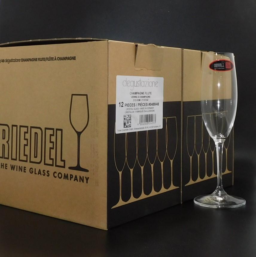 12 Riedel 212CCM Crystal Glass Degustazione Champagne Flutes (12 x 212CCM)