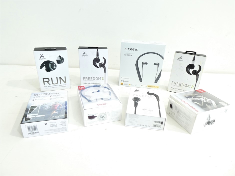 Box Containing ASSORTED USED & UNTESTED WIRELESS HEADPHONES