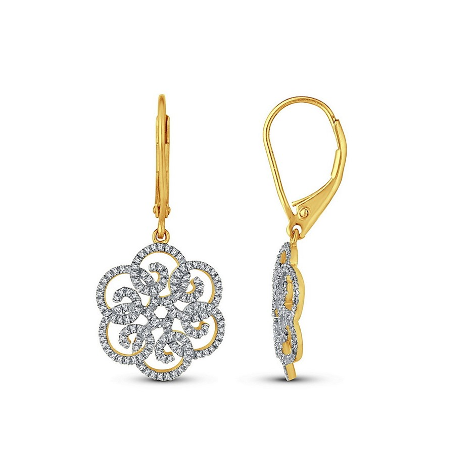 9ct Yellow Gold, 0.37ct Diamond Earring