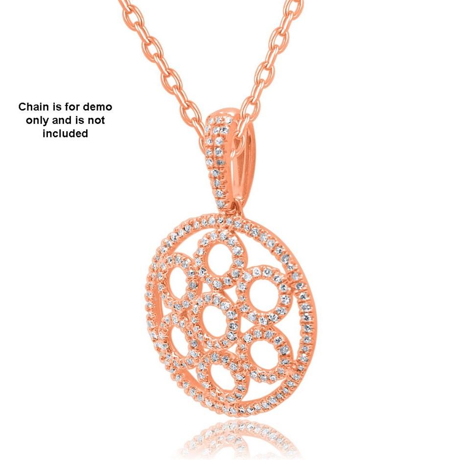 9ct Rose Gold, 0.23ct Diamond Pendant