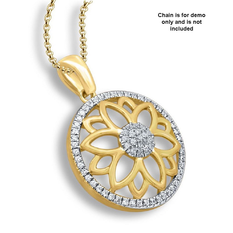 9ct Yellow Gold, 0.08ct Diamond Pendant