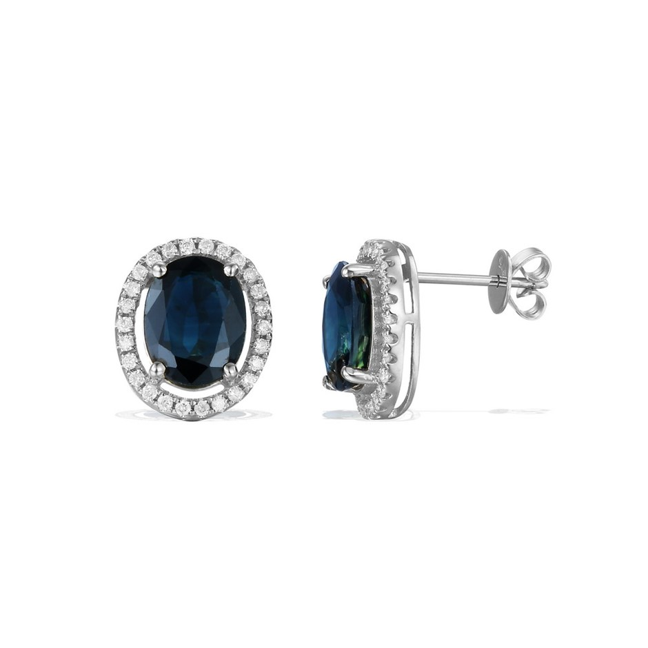 9ct White Gold, 3.77ct Blue Sapphire and Diamond Earring