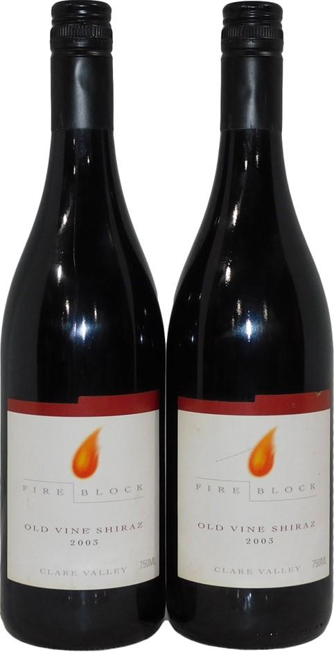 Fire Block Old Vine Shiraz 2003 (2x 750mL), Clare Valley. Screwcap