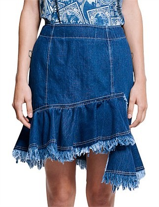 KAREN WALKER Denim Semaphore Skirt. Size 8, Colour: Indigo. ORP: $370 Buyer