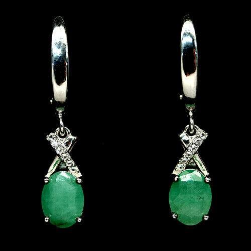 Beautiful Genuine Emerald Drop Earrings.