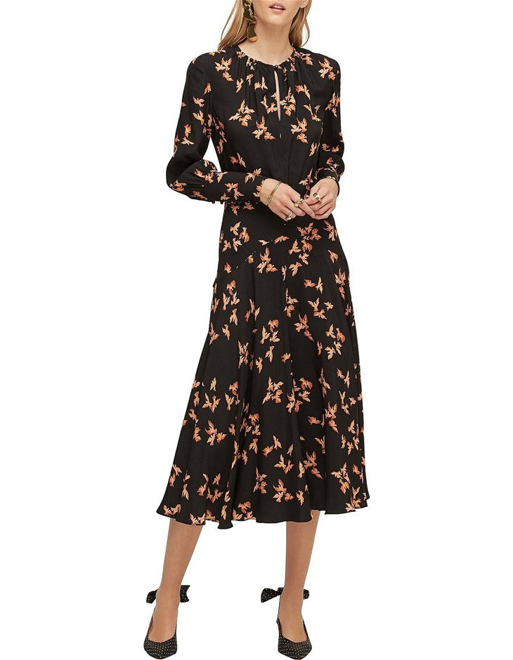 LOVER Dove Midi Dress. Size 8, Colour: Black Dove. ORP: $465 Buyers Note -