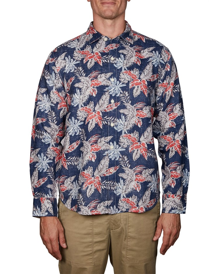 TOMMY BAHAMA Faded Palms. Size L, 100% Linen, Long Sleeve Shirt, Colour: Do