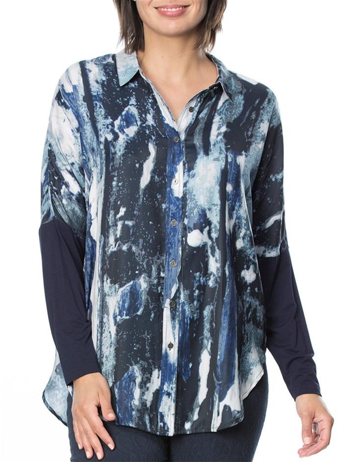 HAMMOCK AND VINE Blue Water Print Shirt. Size 16, Colour: Navy Print. 100%