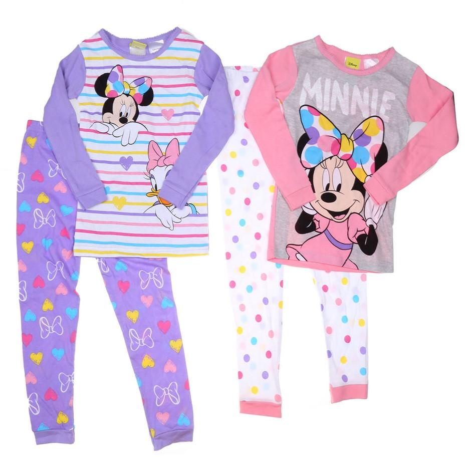 DISNEY Girl`s MINNIE MOUSE 4pc Sleepwear Set, Size 5, Cotton, Theme Print.