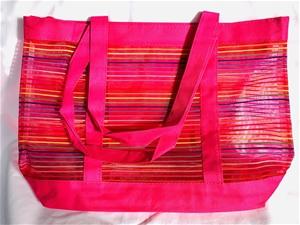 2 x Pink Striped Beach Bag (with zip enc