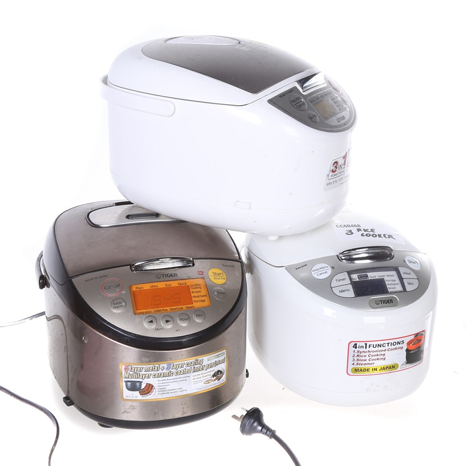 3 x Mixed TIGER Multi- Functional Micro Computing Heating Rice Cooker w/ LC