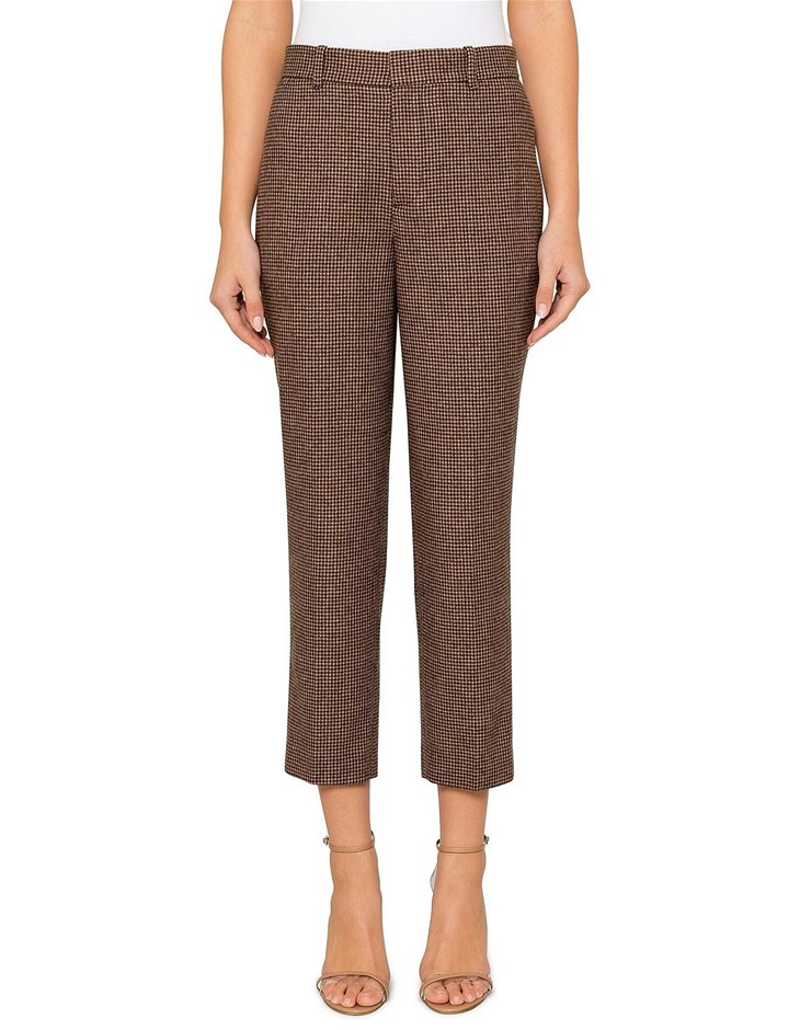 POLO RALPH LAUREN Houndstooth Tweed Pant. Size 10, Colour: Brown/Camel Houn