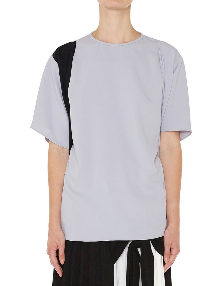 CHRISTOPHER ESBER Charli Tie Tee. Size 8, Colour: Dove/Black. ORP: $390 Buy