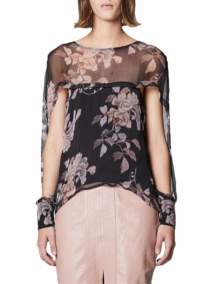 F2190ONCE WAS Cape Sleeve Top. Size 2, Colour: Bohem Floral. ORP: $229 Buye